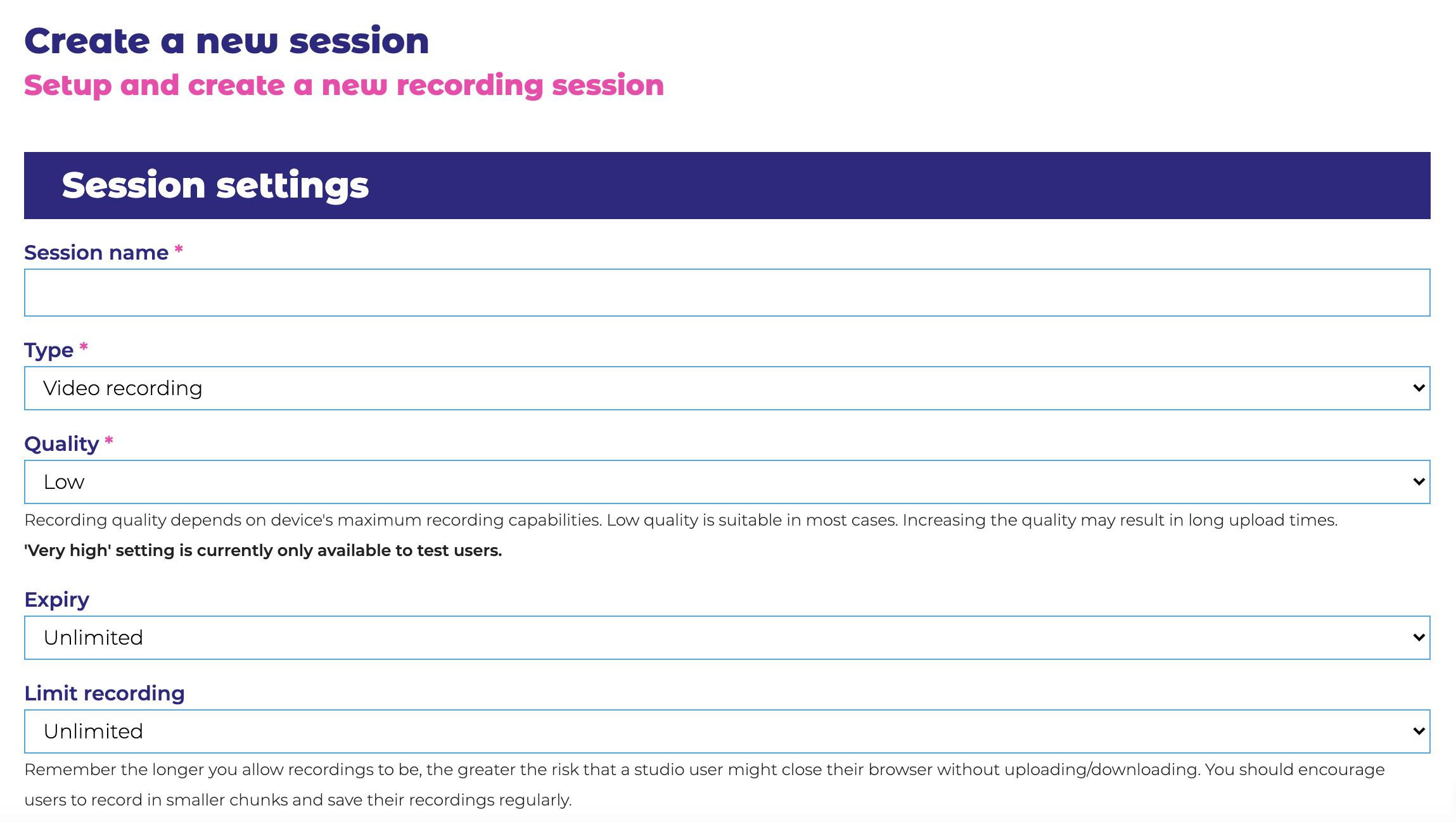 Session Settings 1